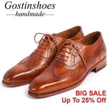 GOSTINSHOES HANDMADE Goodyear Welted Men's Brogue Shoes Brown Genuine Leather Lace-Up Pointed Toe SCZ044 цена в Москве и Питере