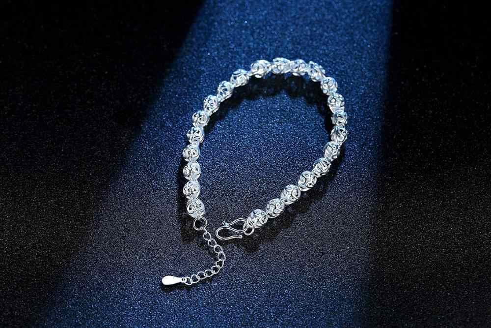 ขาย Hot Hollow สร้อยข้อมือสำหรับสาวผู้หญิง 925 เงินสเตอร์ลิงสร้อยข้อมือคริสต์มาสของขวัญ S-B201