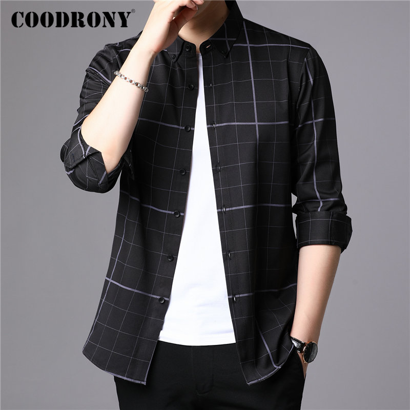 COODRONY Brand Men Shirt Fashion Plaid Long Sleeve Shirt Men 2019 New Arrivals Autum Winter Casual Shirts Camisa Masculina 96078