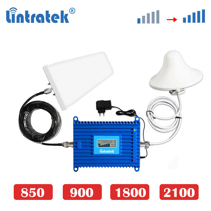 Lintratek 70dB 4G LTE 1800MHz Dcs 1800 3G 2100mhz GSM 900 850 Cellphone Signal Booster Internet Cellular Amplifier Repeater S7