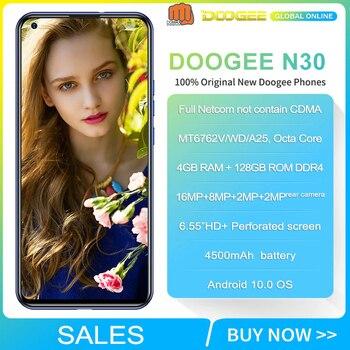 Перейти на Алиэкспресс и купить Doogee N30 смартфон 4 Гб 128 ГБ 4180 мАч Android 10 мобильный телефон Full Netcom 6,55 дюймHD + экран 16MP Quad задние камеры MT6762V
