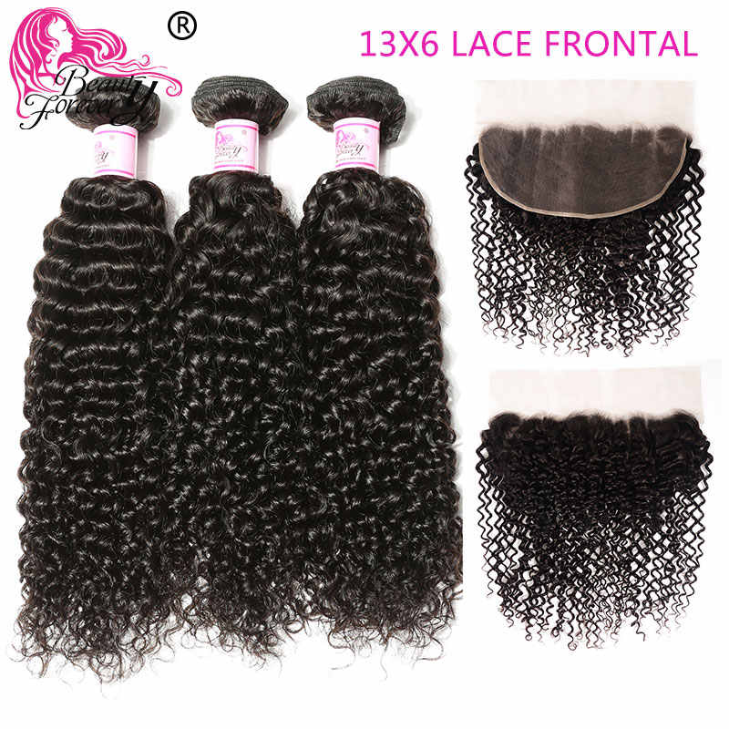 Beauty Forever Malaysian Curly Human Hair Weave Bundles With 13*6 Lace Frontal Closure Free Part Remy Closure