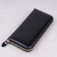 Genuine leather vintage unisex zipper long purse handmade wallet card holder
