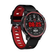 Microfones l8 ecg + ppg o2 monitor tela de toque completa ip68 modo esportes bluetooth controle de música tempo relógio inteligente fitness das mulheres dos homens