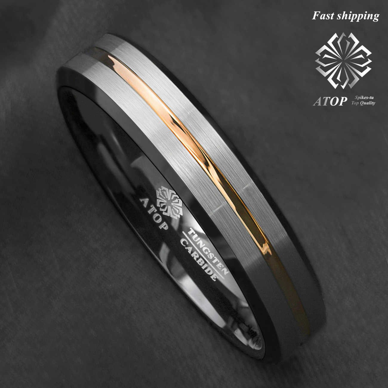 6mm Titanium Ring Brush Top Blue IP Faceted Edge Two-Tone Women Wedding Band