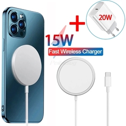 Magnetic 15W Wireless Charger For iPhone 12 Pro Max Mini For Magsafing Fast Charging Quick PD 20W US EU Plug Wireless Charger