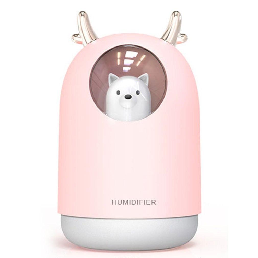USB Mini Air Humidifier Cute Deer Aroma Essential Oil Diffuser LED Night Light Car Office Air Purifier Mist Maker