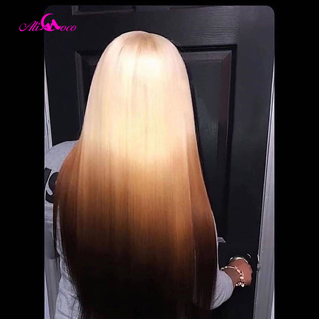 $ US $58.50 ALI Coco 150% Green Human Hair Wig Brazilian Remy Straight Yellow Lace Front Wig Pink Red Bule Purple Ombre Wigs For Women