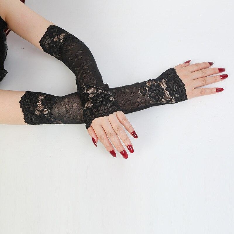 Frauen Fahren Handschuhe Elastische Arm Abdeckung Sommer Sonnencreme Lange Arm Sleeve Finger Spitze Handschuhe Dame Gefälschte Hülse Für Outdoor