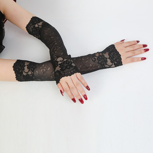 Women Driving Gloves Elastic Arm Cover Summer Sunscreen Long Arm Sleeve Fingerless Lace Gloves Lady Fake Sleeve For Outdoor