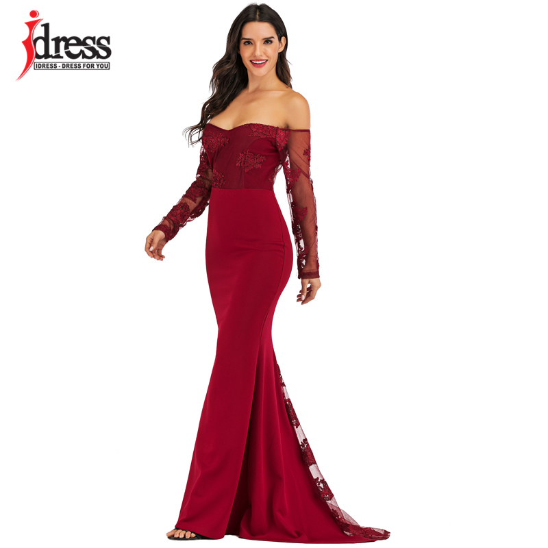 IDress Sexy Slash Neck Off Shoulder Designer Runway Dress Formal Prom Long Dress Women Lace Embroidery Evening Party Dress Long (10)