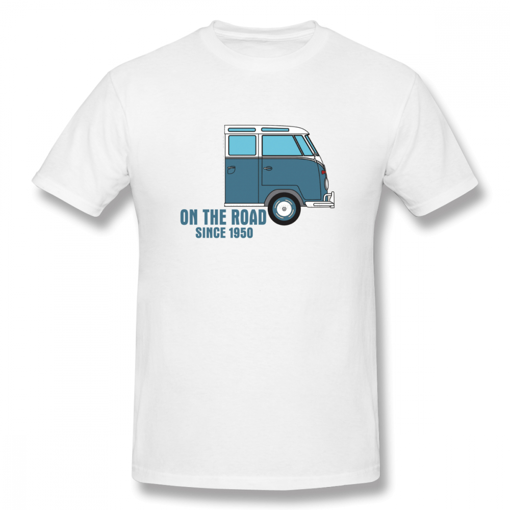 <font><b>VW</b></font> T1 Campervan On The Road Enamel Tin Mug off white Men's Basic Short Sleeve T-Shirt 100 Percent Cotton Graphic <font><b>Tshirt</b></font> image