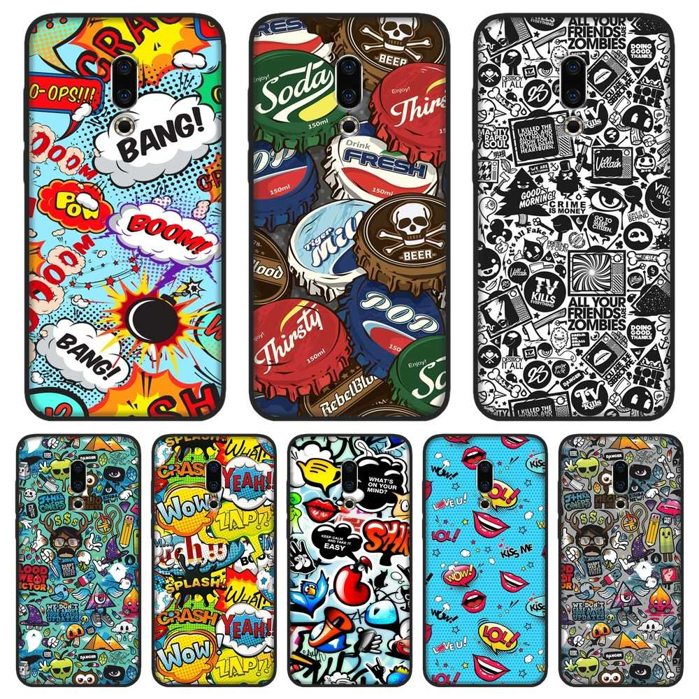 Tpu Soft Telefoon Case Silicone Voor Meizu 16th 16X15 Lite 16 Plus Anime Graffiti Sticker Back Cover Voor meizu U10 U20 Pro 6 7 Plus