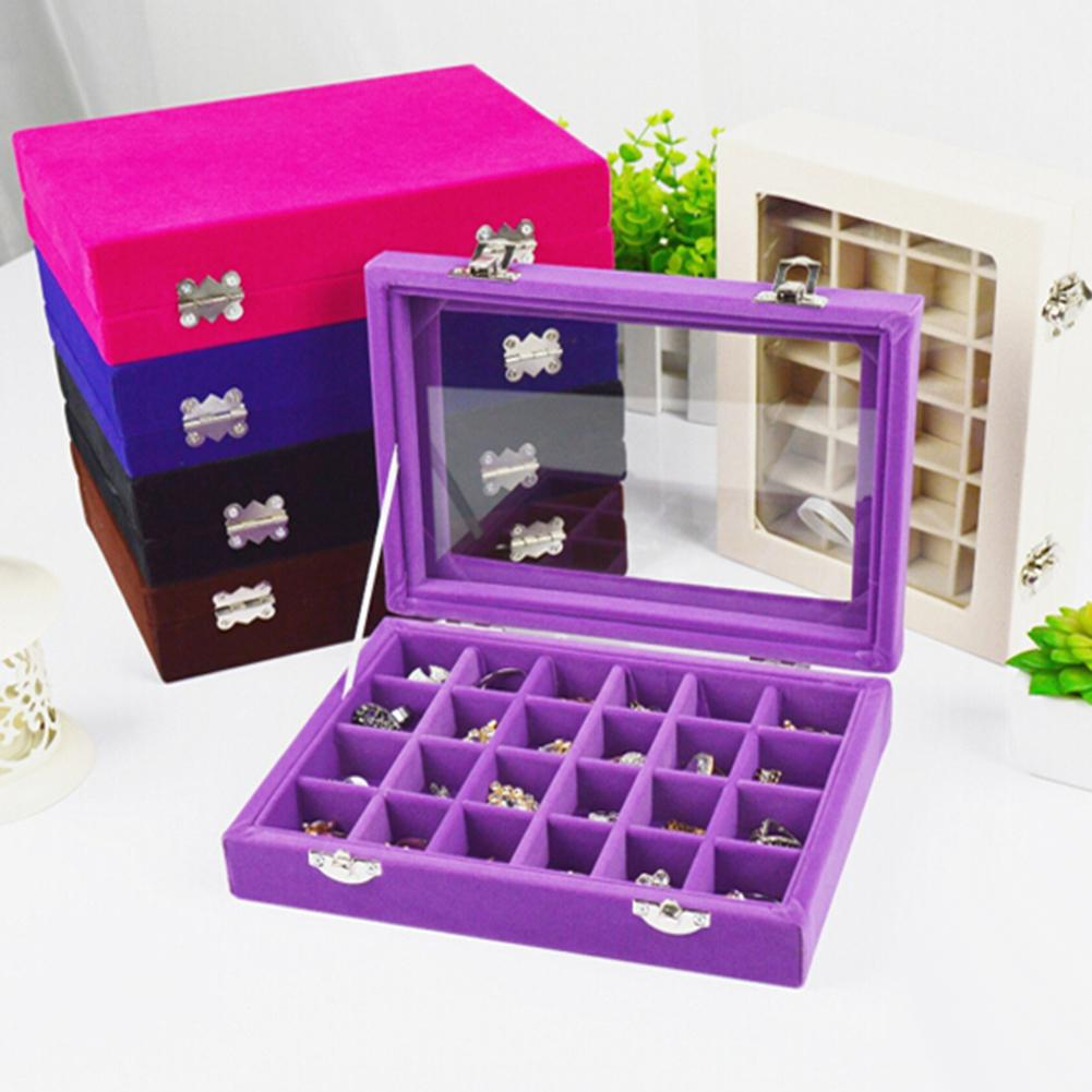 24 Slots Wooden Transparent Cover Buckle Earrings Jewelry Storage Box Organizer Wood Cloth Multiple Colors Durable Storage Box