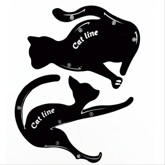 2PCS Cat Line Eyeliner Stencils Eyeliner Stamps Cat Pro Eye Liner Stamps Eyeliner Stencil Models Template Shaper Makeup Tools 5
