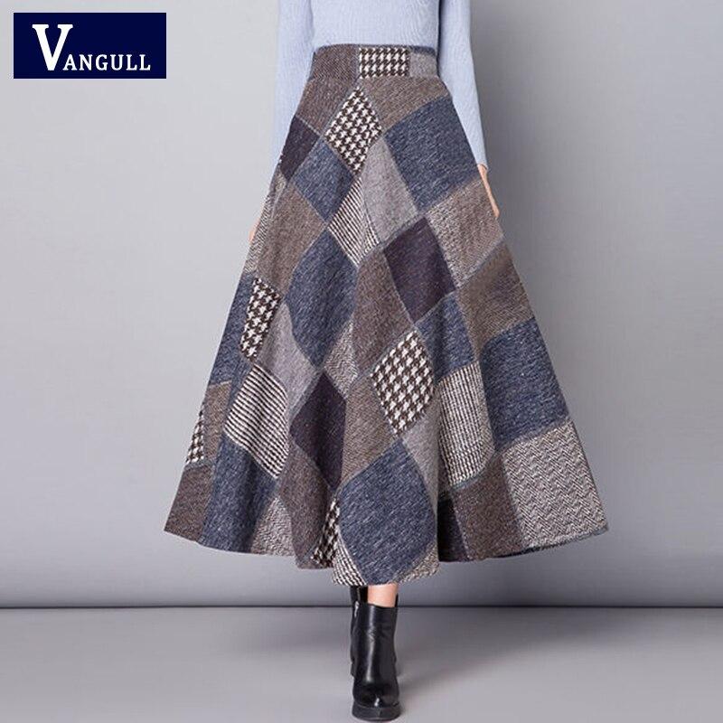 Vangull Autumn Winter Long Skirts Women 2019 New Arrival High Waist Warm Wool Elegant Beauty Lady Thicker Plaid Skirt