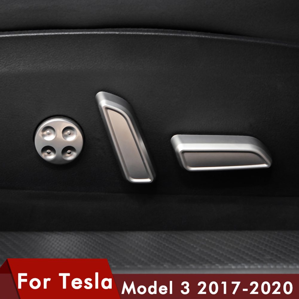 Model3 Car Seat Button Decorative Cover For Tesla Model 3 Accessories 2020 Seat Adjust Knob Cover Model Y ModelY Model Three