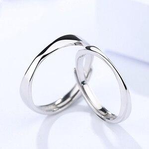 Роскошное кольцо для влюбленных пар из стерлингового серебра S925 пробы, простое регулируемое кольцо в стиле ретро для мужчин и женщин