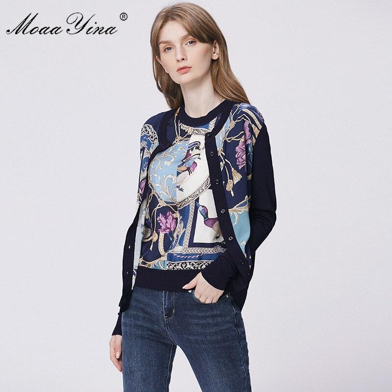 Image 3 - MoaaYina Spring Fashion Long sleeve Knitting Tops Womens Elegant Print Cardigans Silk Wool SweaterCardigans