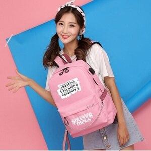 Image 3 - Nouveau étranger choses toile sac à dos USB Charge femmes étudiant sac à dos lettres imprimer sac décole adolescent filles rubans sac à dos