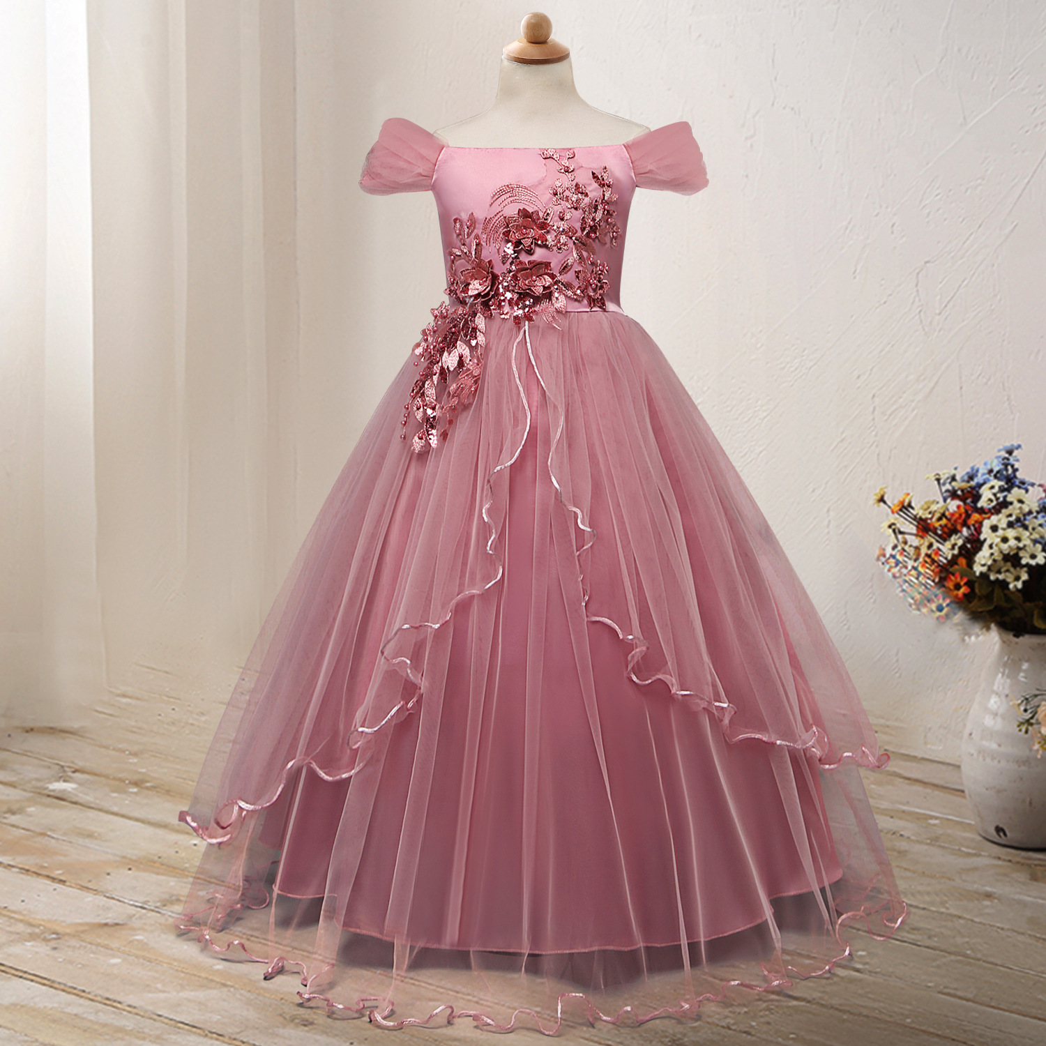 2019 New Style Child Formal Dress Long Off-Shoulder Princess Skirt Fairy Flower Long Skirts Stage Performance Puffy Formal Dress