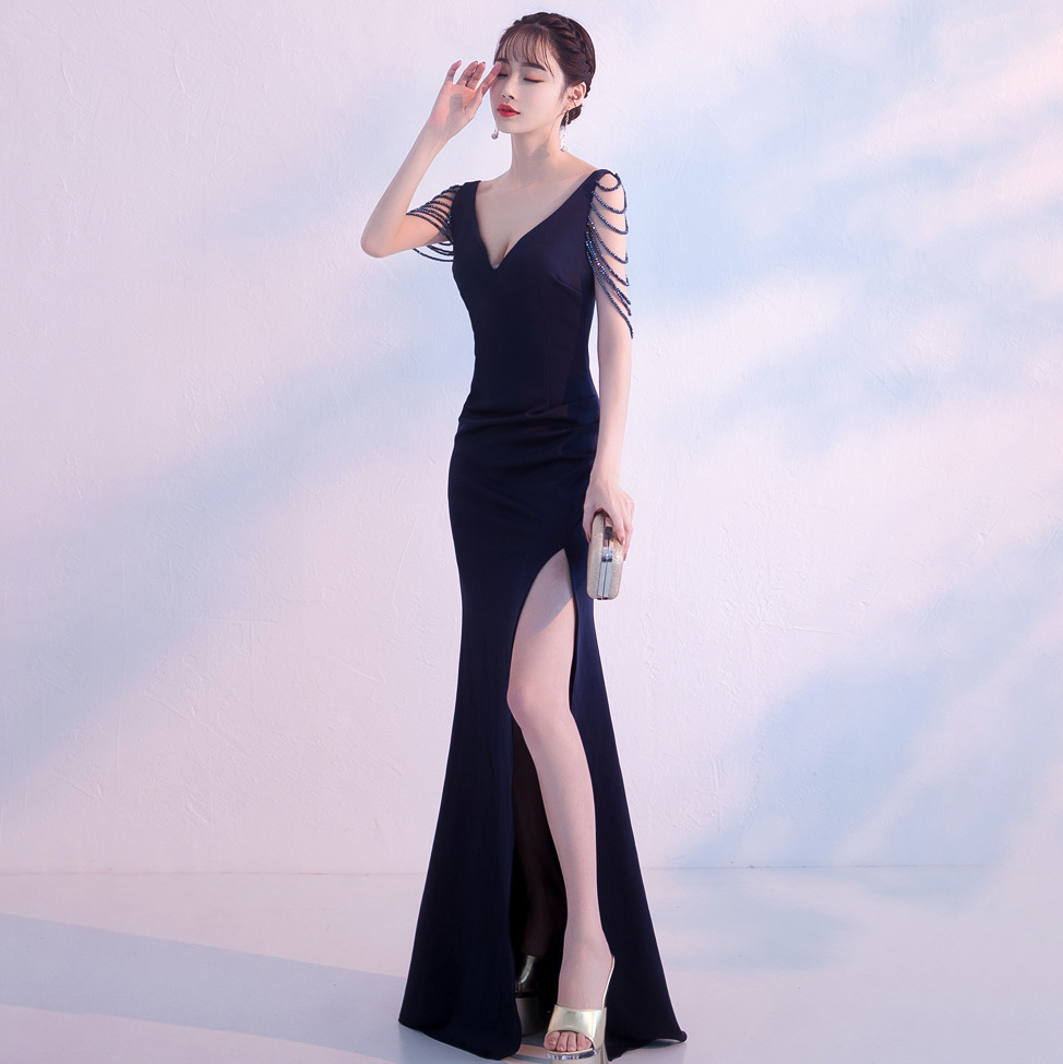 1569 #7-Color-Slim Fit Party Formal Dress Slimming Sheath Annual General Meeting Host Party Clubhouse Debutante Evening Dress Wo