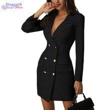 Женское цельнокроеное платье, костюм для офисных леди, торжественное платье, двубортные модные повседневные Костюмы, фигурный Блейзер, пиджак, женская одежда