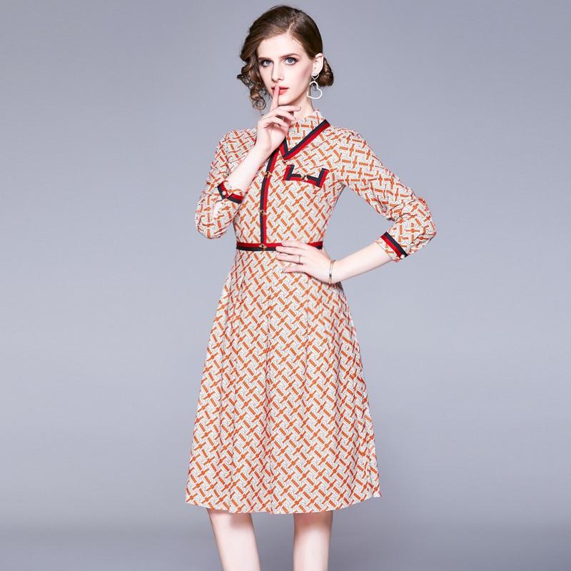 Französisch Stil Drucken Midi Herbst Kleid Vestidos Invierno 2019 Mujer Frauen Party Glitter Runway Kleid Kleider Damen K9089