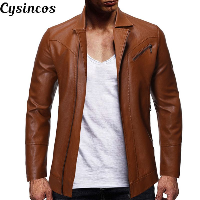 CYSINCOS Motorcycle Jacket Closure Collar Long-Sleeve New Zipper Casual Warm Men's