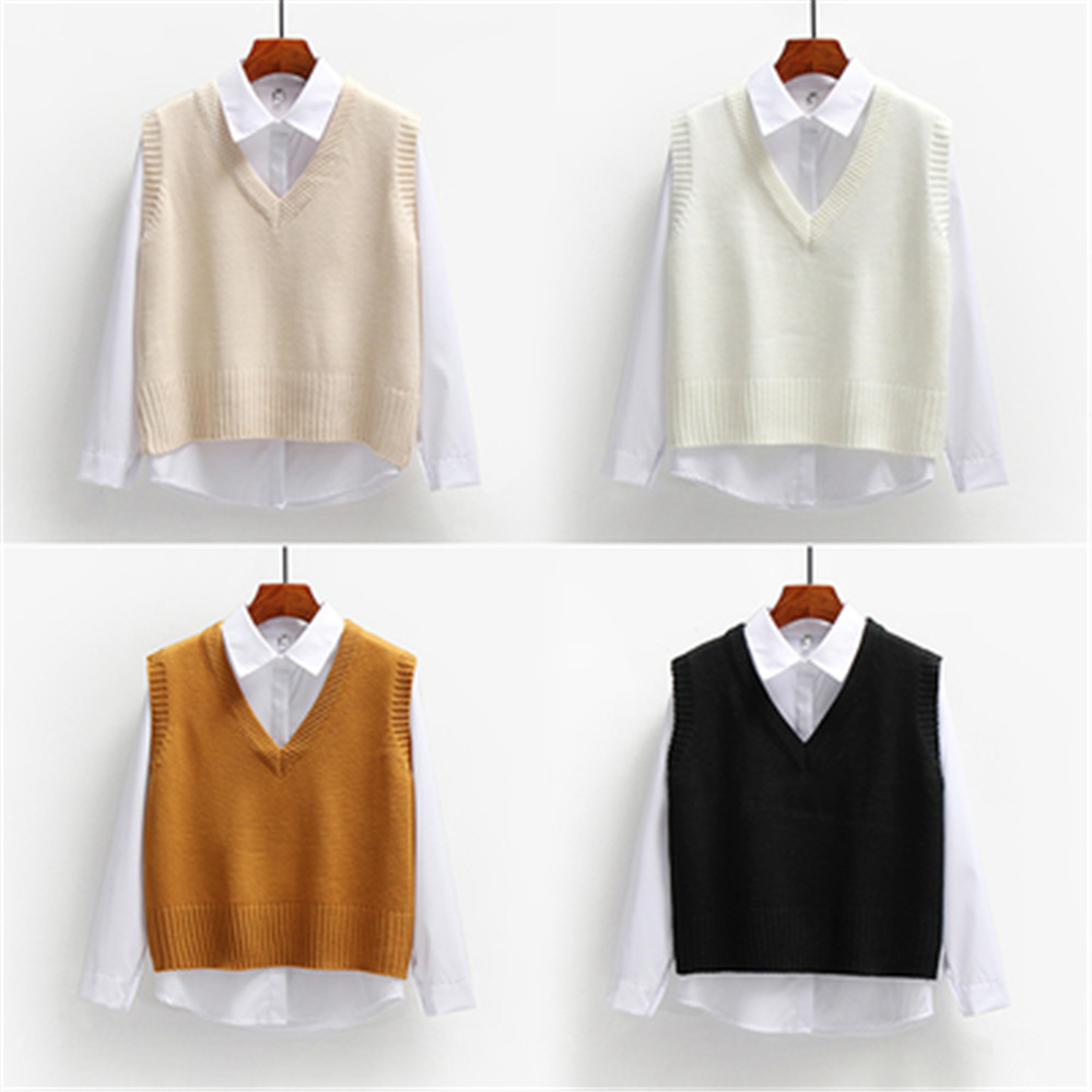 Women Sweater Vest Spring 2021 Autumn Women Short Loose Knitted Sweater Sleeveless Ladies V-Neck Pullover Tops Female Outerwear 5