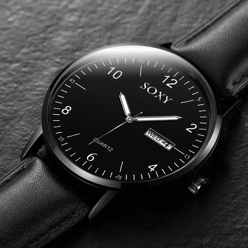 Mens Quartz Watch Men Relogio Masculino Sport Wristwatch Leather Strap Male Clock Reloj Complete Calendar Watches Homme Saati