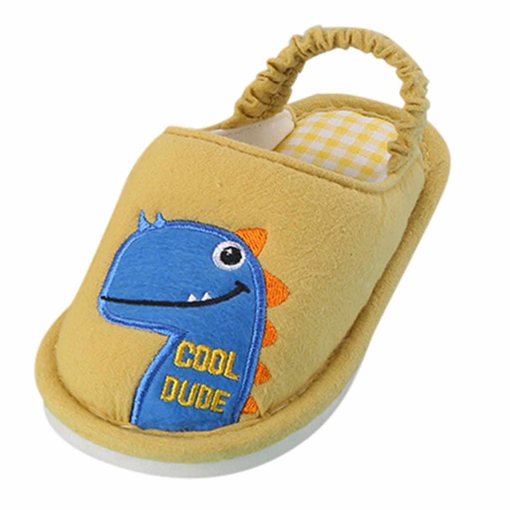 TELOTUNY תינוק בני בנות נעלי בית נעליים מזדמנים יוניסקס רך קריקטורה דינוזאור נעלי בית חם נעל שקופיות פעוט ילדי נעל 819
