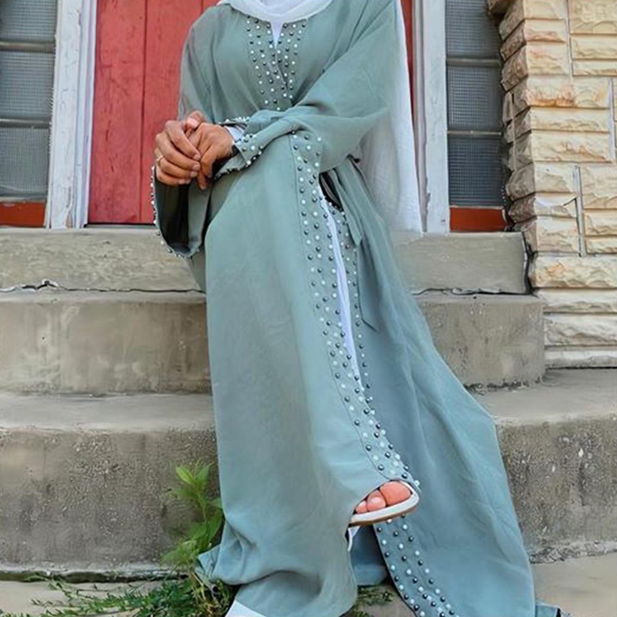 Arab Dubai Muslim Abaya Dress Women Turkey Beading Slim Maxi Robe Moroccan Kaftan Ramadan Islamic Clothing Musulman Ropa Autumn