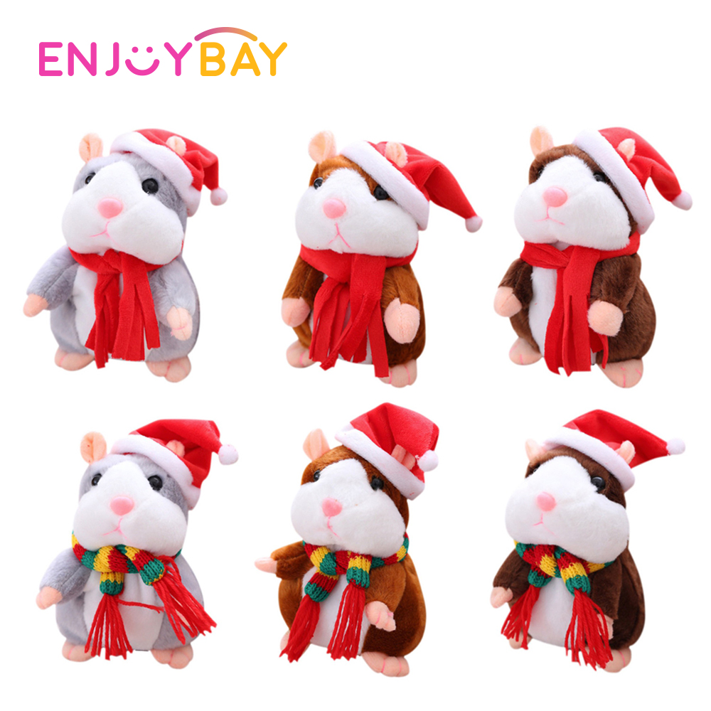 Купить с кэшбэком Enjoybay Cute Talking Hamster Plush Toys Electronic Speak Pets Talk Sound Record Repeat Plush Toy Funny Educational Toy for Kids
