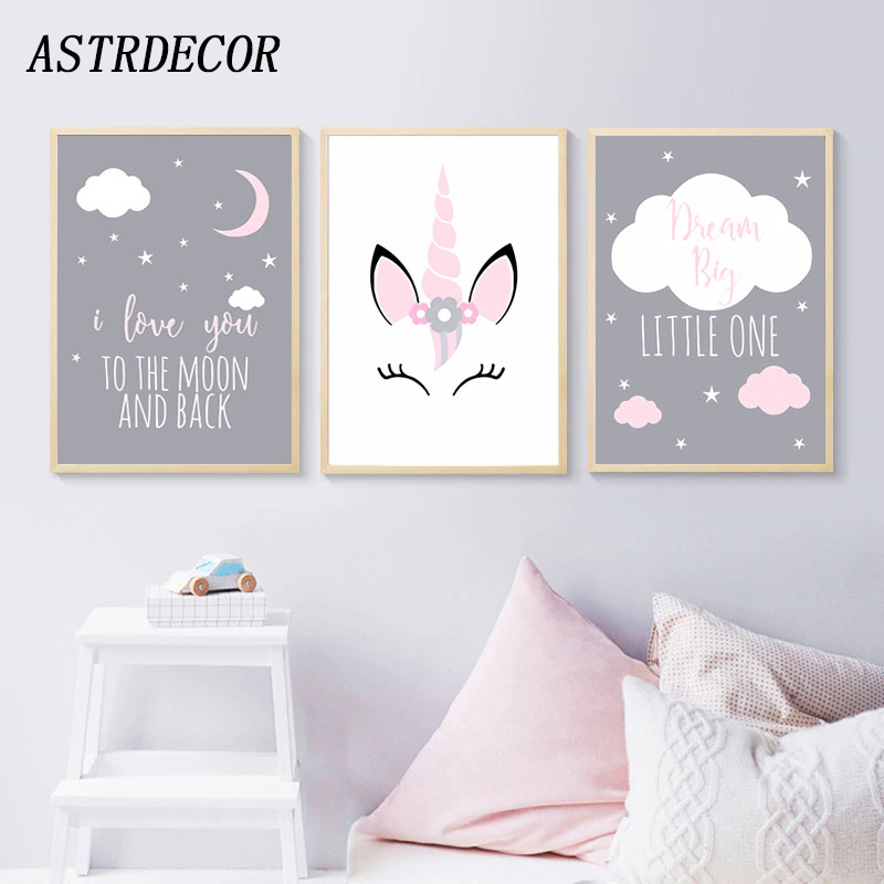 ASTRDECOR Unicorn Canvas Poster Baby Girl Nursery Quotes Wall Pictures Art Print Love You To The Moon Painting Nordic Kids Room