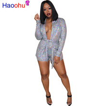 Sequin 2 Piece Matching Sets Women Festival Clothing Deep V Neck Full Sleeve Belt Long Coat and Bodycon Shorts Sexy Club Outfits