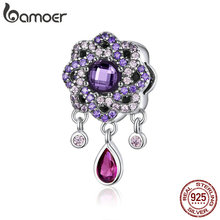 BAMOER High Quality 925 Sterling Silver Purple Flower Shape Charms Pendants Fit Charm Bracelets & Necklaces Jewelry SCC1075