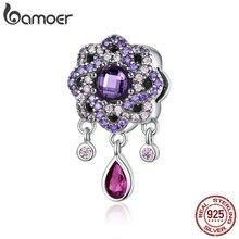 BAMOER colgantes de plata de ley 925 con forma de flor morada, Charms para pulseras y collares, joyería SCC1075