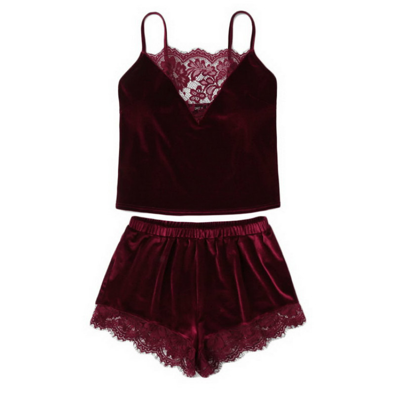 Fashion Women 2pcs Velvet Sleepwear Sexy Lace Spaghetti Strap Velvet Shorts Pajama Set Ladies Sleepwear Female Pajama Party Set