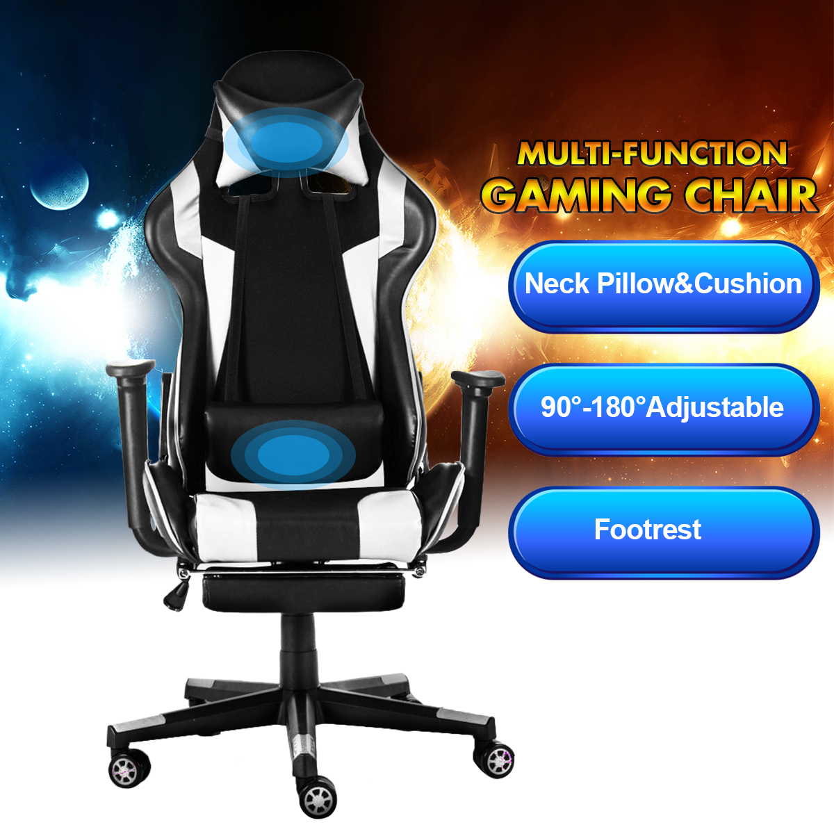 Office Chairs 180° Lying Massage Household Reclining Computer WCG Gaming Chairs Furniture Armchair With Footrest