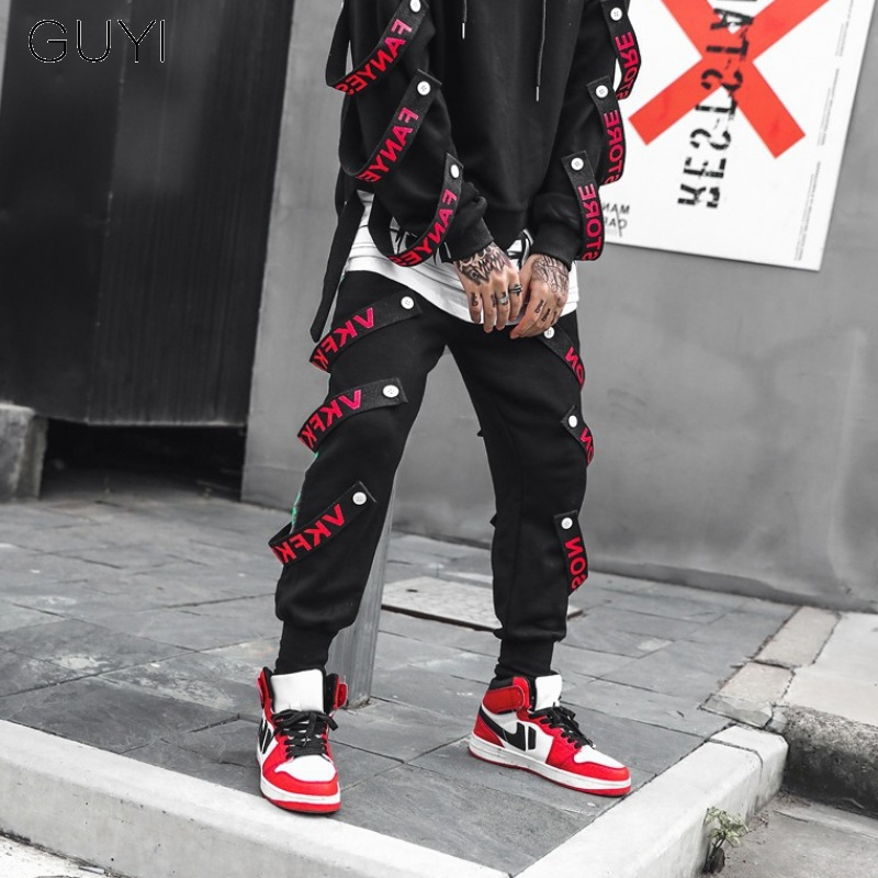 Letter Ribbons Hip Hop Pants For Men Joggers Casual Streetwear Vintage Harem Pants Male Trousers Cargo Sport Men's Black Pants