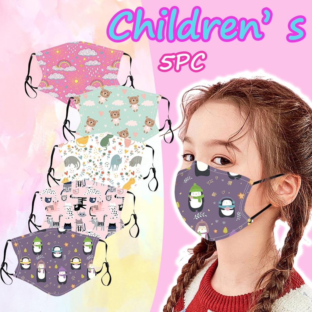 5PC Kids Children Outdoor Cotton Printed Face Macks Dustproof Face Bandanas Reusable and Washable G