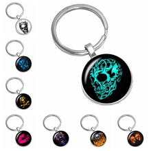 2019 New Halloween Death Skull Pattern Series Glass Cabochon Keychain Fashion Domineering Jewelry Gift