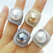 GODKI 2020 Trendy Twist Pearl komunikat pierścionki dla kobiet Cubic cyrkon pierścienie wisiorek z koralikami pierścień czeski biżuteria plażowa 2019