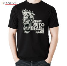 Punks Not Dead - Mens Punk T-Shirt Sex Pistols The Clash Biker Green Day New Spring Summer Dress Short Sleeve Casual