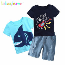 3Piece/2-7Years/Summer Toddler Clothes Baby Boys Outfit Cartoon Cotton Short Sleeve T-shirt+Denim Shorts Children Clothes BC1174(China)
