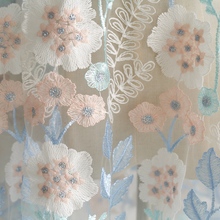 2meters/lot 130cm Blue milk silk embroidery flower mesh lace fabric diy women's wear high-end dress fabric