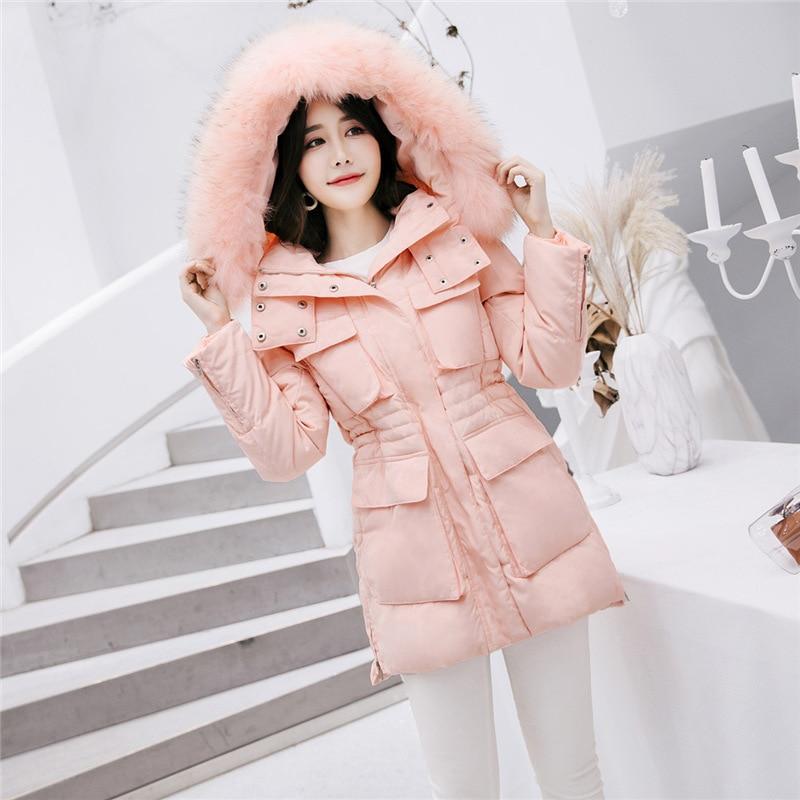 Down Duck White Jacket Woman Hooded Winter Coat Women Big Fur Collar Pink Down Jackets Overcoat Jaqueta Feminina KJ642 S