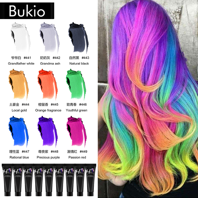 BUKIO Hair Tint Colorant Grandma Ash Semi Permanent Long Lasing Grandfather White Hair Cream Color Dye Paint No Odor Hair Dye image