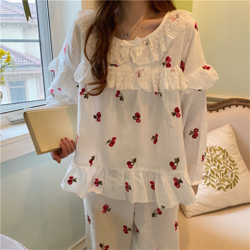 Alien Kitty Chic Women Sweet Pajamas Suits Long Sleeves 2020 New Strawberries Ruffles Fashion Sleepwear Loose Fresh Long Pants